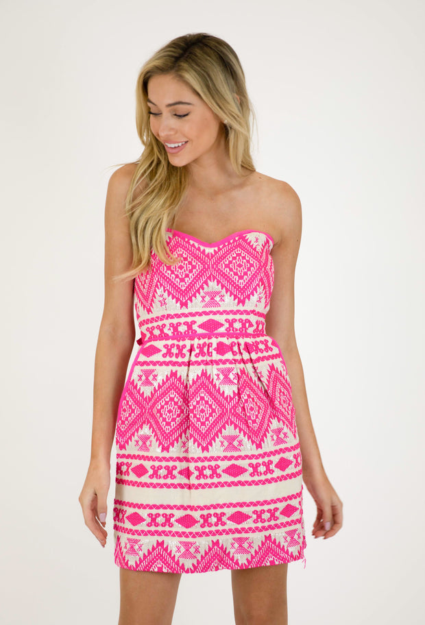 BE MINE HOT PINK JACQUARD DRESS