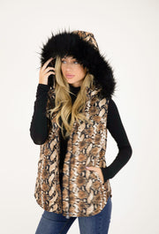 SAHARA SNAKE PRINT PUFFER VEST WITH FUR TRIM