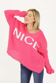 HOT PINK CHENILLE NICE SWEATER