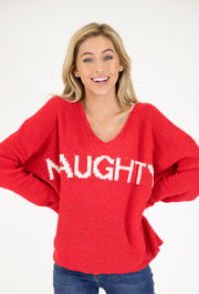 RED CHENILLE NAUGHTY SWEATER