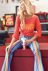 LIGHT DENIM FLARE PANTS WITH LACE INSETS & RAINBOW STRIPES