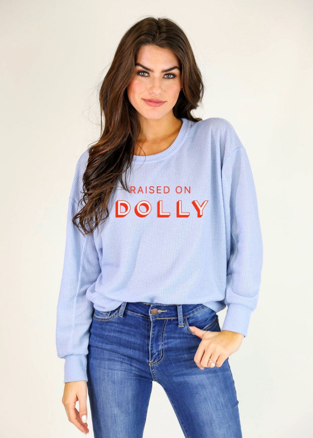 RAISED ON DOLLY WAFFLE KNIT PULLOVER