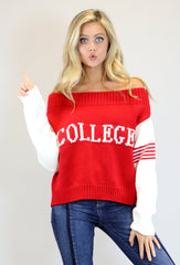 "RED ""COLLEGE"" SWEATER"