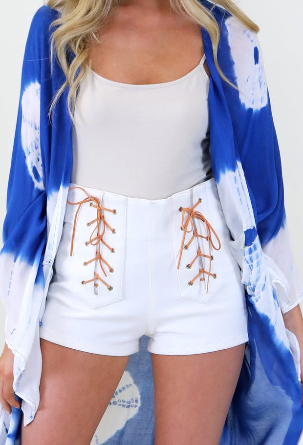 WHITE DENIM SHORTS W/FRONT SUEDE LACE UP DETAIL