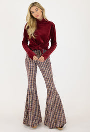 GALWAY PLAID TWEEDY KNIT FLARE PANT