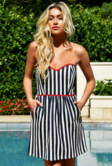 NAVY & IVORY STRAPLESS TIE BACK DRESS