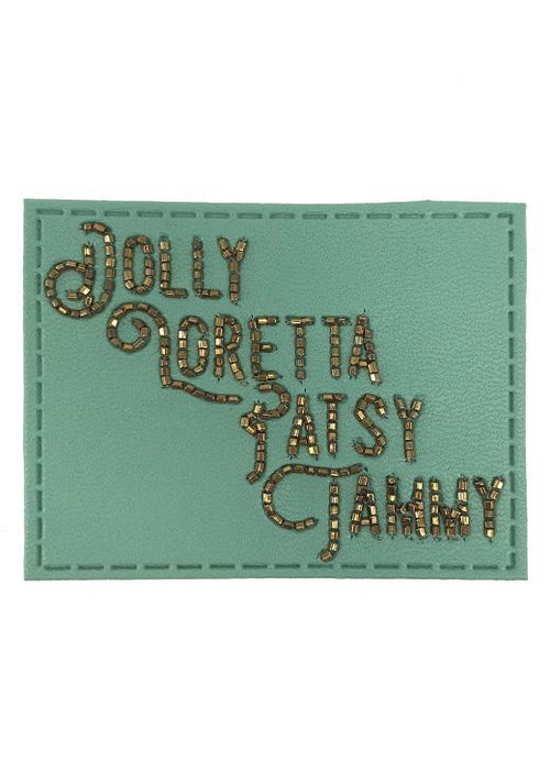 Turquoise Beaded Leather Ladies Legend Patch - Blue