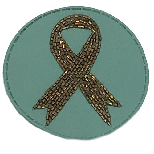 TURQUOISE BEADED LEATHER RIBBON PATCH - RED