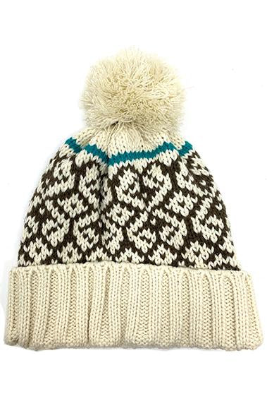 FAIR ISLE BEANIE WITH YARN POOF