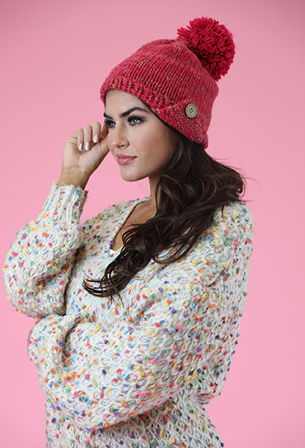 BUTTON UP BUTTERCUP BEANIE WITH FAUX FUR POOF