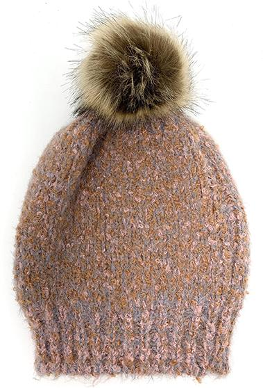 TWEEDY KNIT BEANIE WITH FUR POOF
