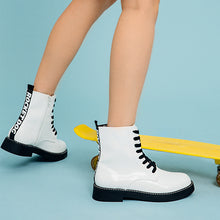 Jestina White Patent Boot
