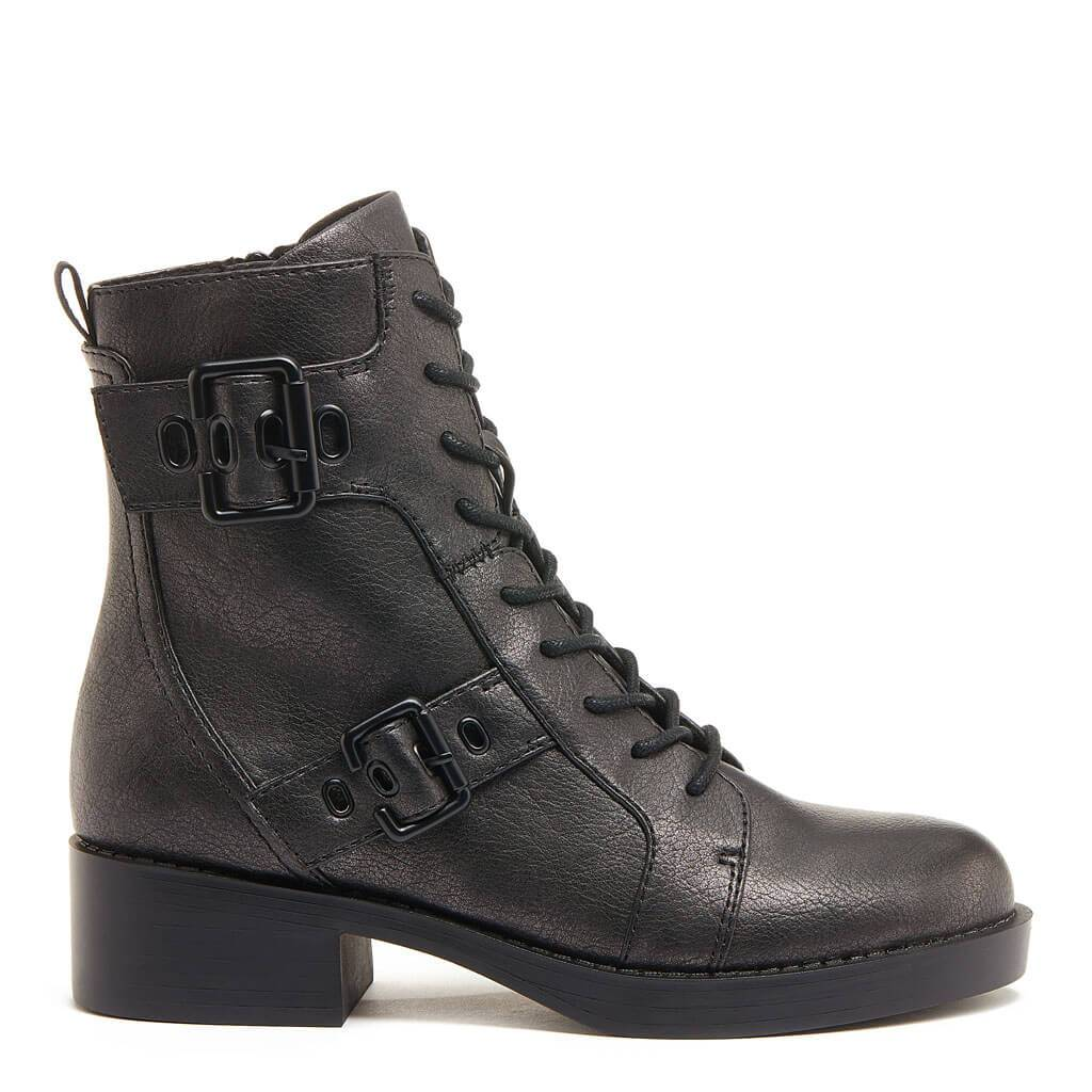 Pearly Gunmetal Quilt Biker Boot
