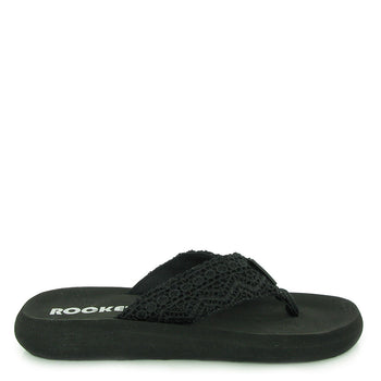 Spotlight Black Crochet Flip-Flops