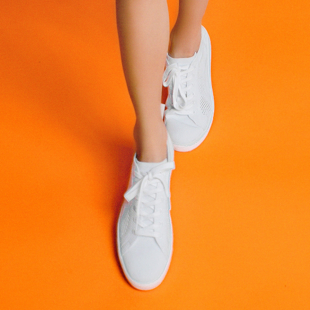 Tibor White Knitted Trainer |Free