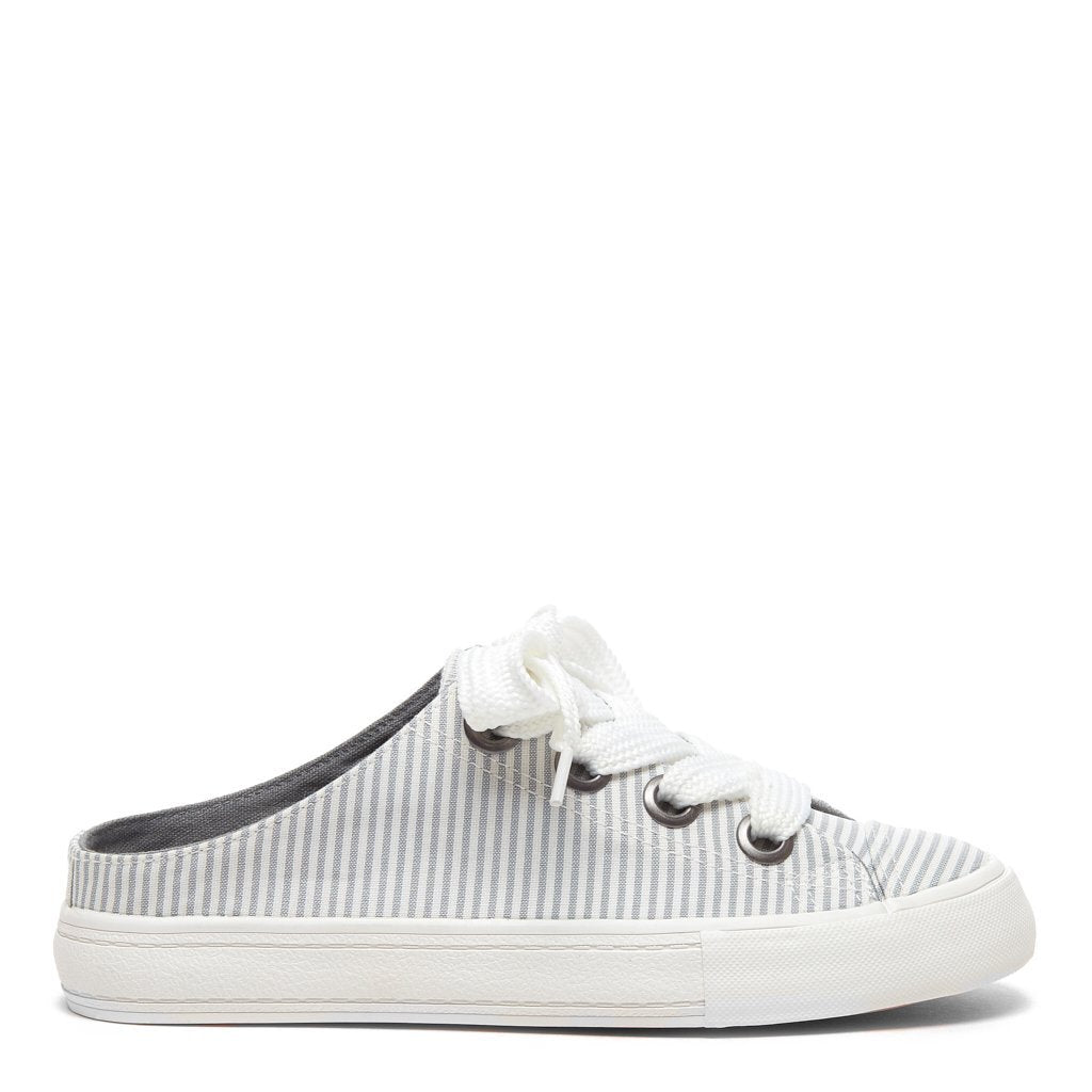 Athena Grey Pinstripe Backless Slip on Trainer