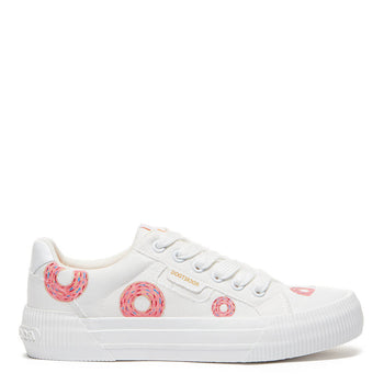 Rocket Dog Cheery White Donut Hand-Painted Trainer