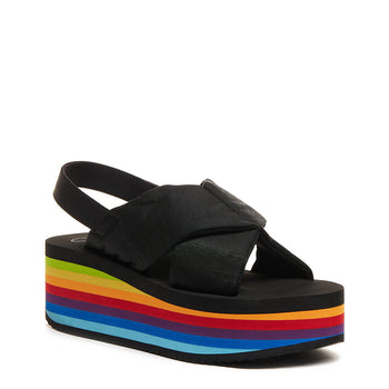 Rocket Dog Hanalei Black Rainbow Platform Sandal