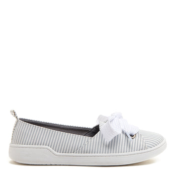 Iris Grey Pinstripe Bow Slip On Casual Shoe