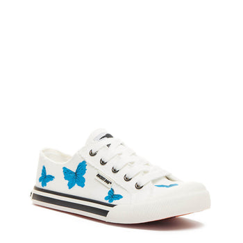 Jazzin White Hand Painted Butterfly Trainer