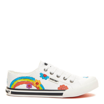 Jazzin White Hand Painted Art Trainer