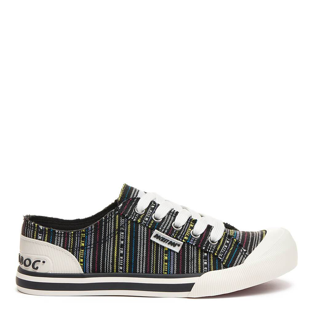 Rocket Dog Jazzi Black Aloe Multi Stripe Trainer