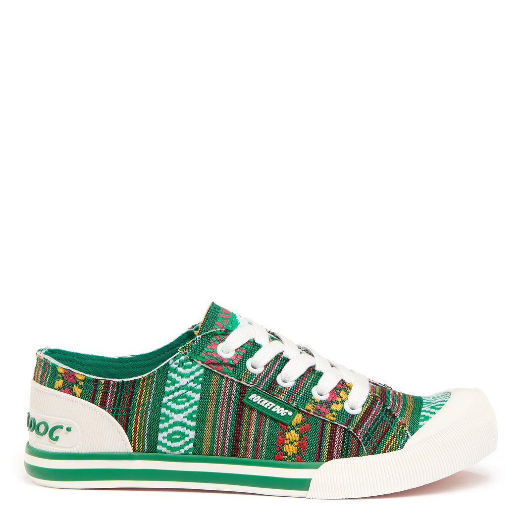 Jazzin Green Aloe Stripe Trainer