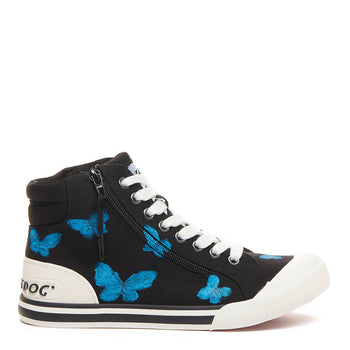 Jazzin Black Butterfly Art High Top Trainer