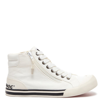 Jazzin White Canvas High-Top Trainer