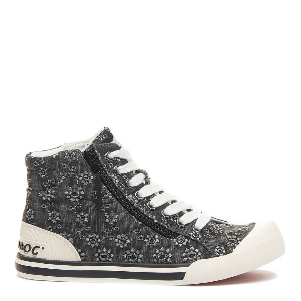 Rocket Dog Jazzin Black Eyelet High Top Trainer