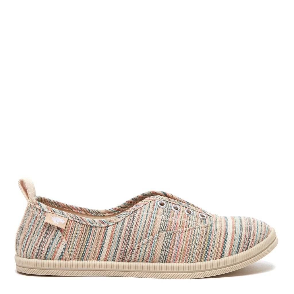 Mariella Olive Stripe Cotton Slip-On Trainer