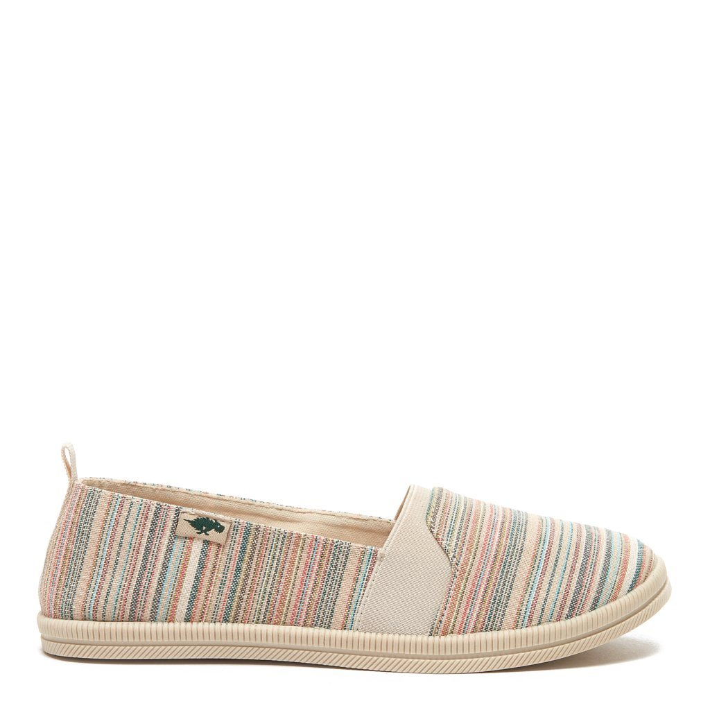 Misa Olive Stripe Cotton Slip-on