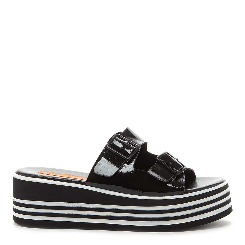 Sandal Zanter Platform Black Stripe Wedge 2IeDYbWE9H