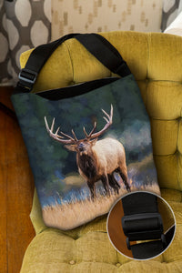 Bugling Bull Elk — Lined Tote Bag with Inside Zipper Pocket and Adjustable Handle
