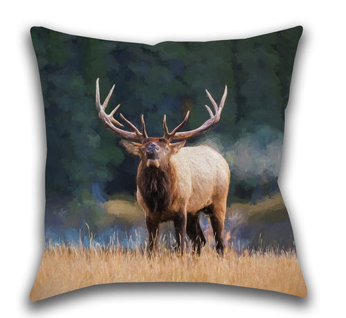 Bugling Bull Elk — Outdoor Pillow, UV Resistant