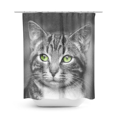 Cat with Green Eyes — Shower Curtain