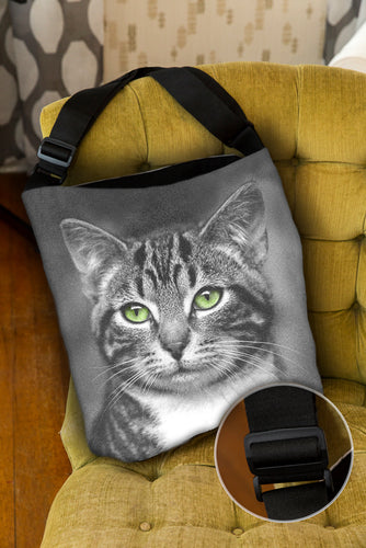 Cat with Green Eyes — Lined Tote Bag with Inside Zipper Pocket and Adjustable Handle