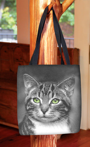 Cat with Green Eyes — Basic Tote Bag
