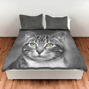 Cat with Green Eyes — Duvet Cover, King or Queen
