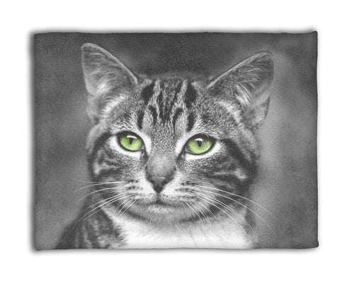 Cat with Green Eyes — 50x60 Fleece Blanket