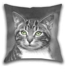 Cat with Green Eyes — Outdoor Pillow, UV Resistant