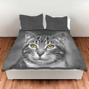 Cat with Yellow Eyes — Duvet Cover, King or Queen