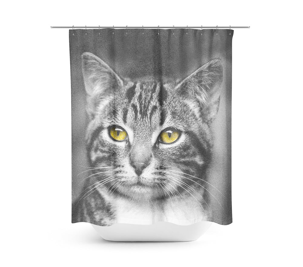 Cat with Yellow Eyes — Shower Curtain