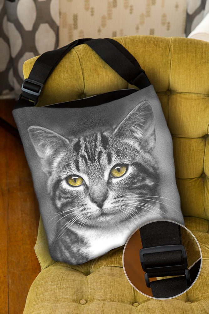 Cat with Yellow Eyes — Lined Tote Bag with Inside Zipper Pocket and Adjustable Handle