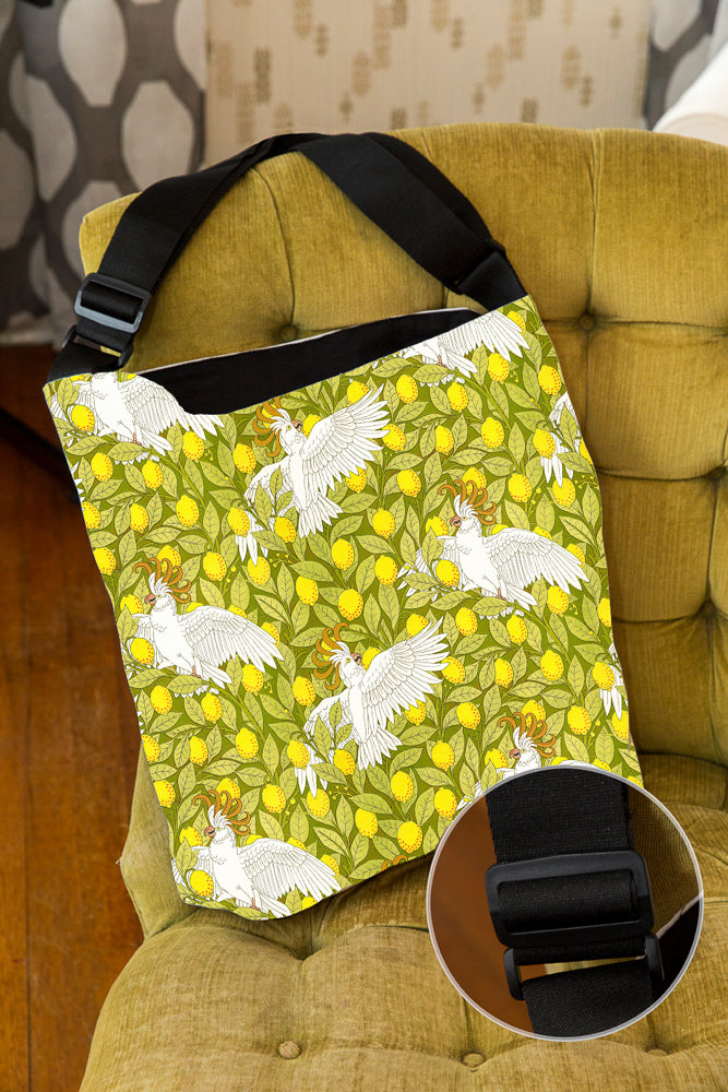Oooh, Cockatoo! — Lined Tote Bag with Inside Zipper Pocket and Adjustable Handle