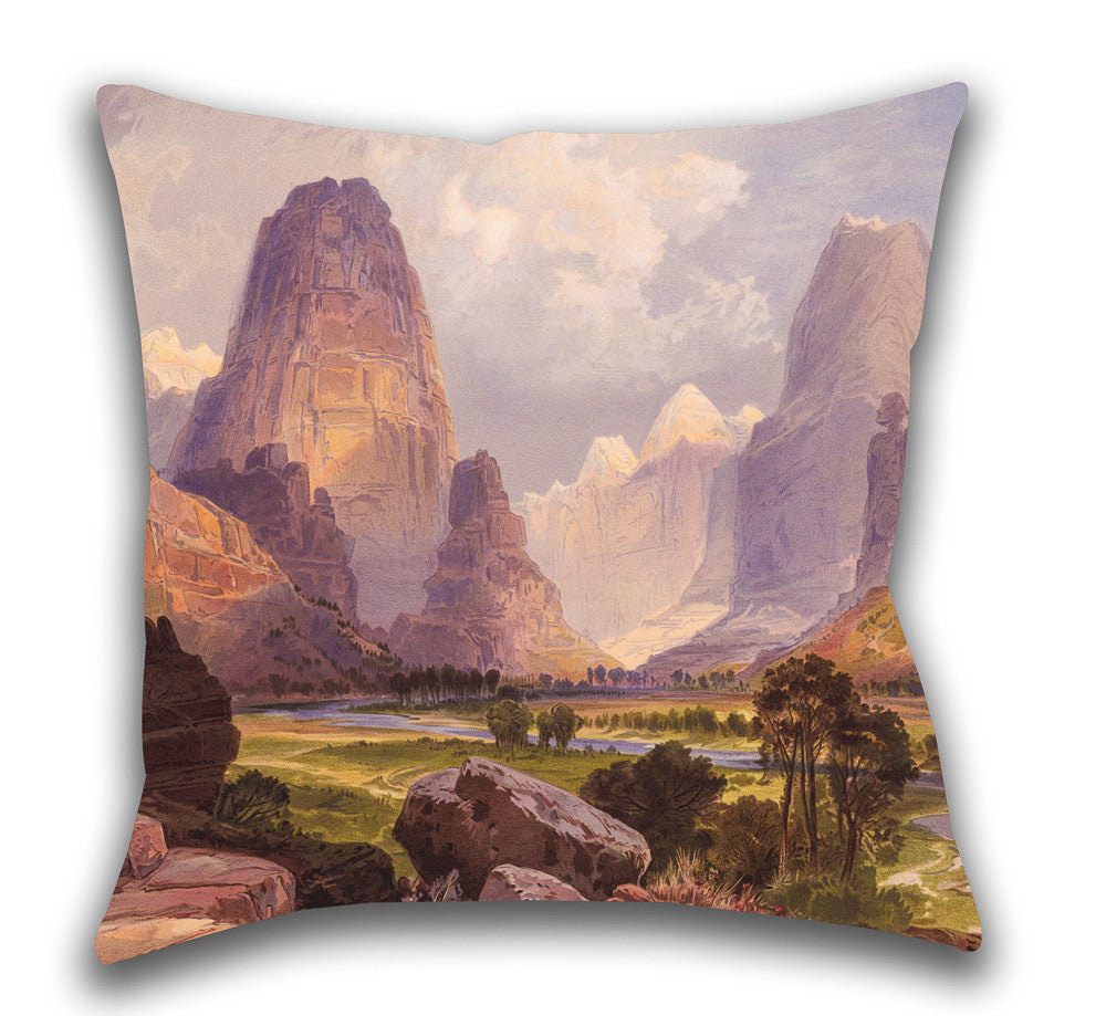Moran Valley of the Bubbling Waters — Outdoor Pillow, UV Resistant