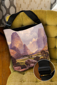 Moran Valley of the Bubbling Waters — Lined Tote Bag with Inside Zipper Pocket and Adjustable Handle