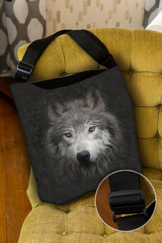 Wolf Face — Lined Tote Bag with Inside Zipper Pocket and Adjustable Handle