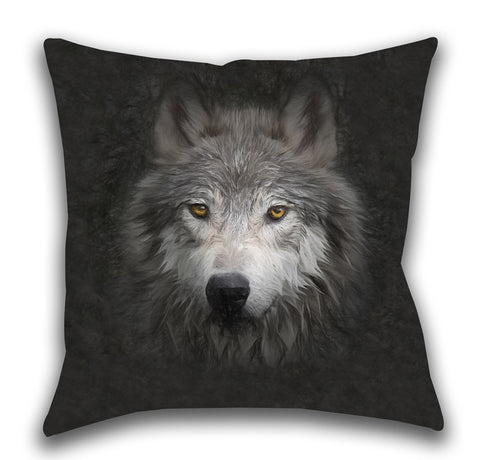 Wolf Face — Outdoor Pillow, UV Resistant