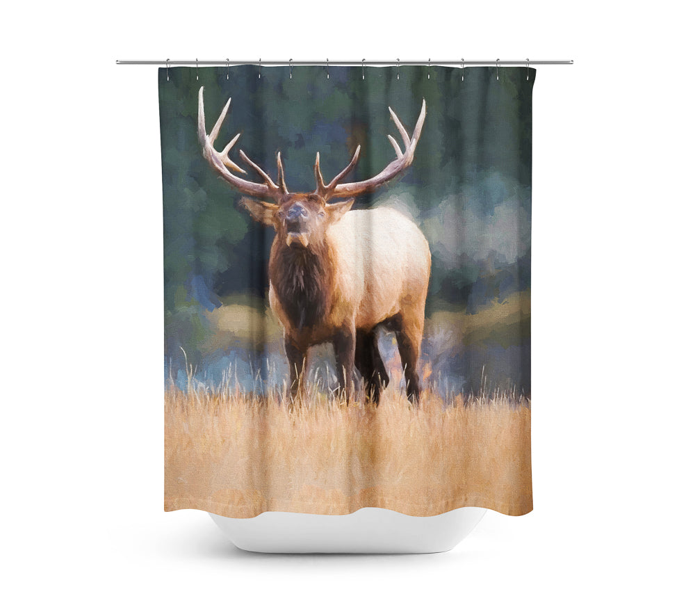Bugling Bull Elk — Shower Curtain